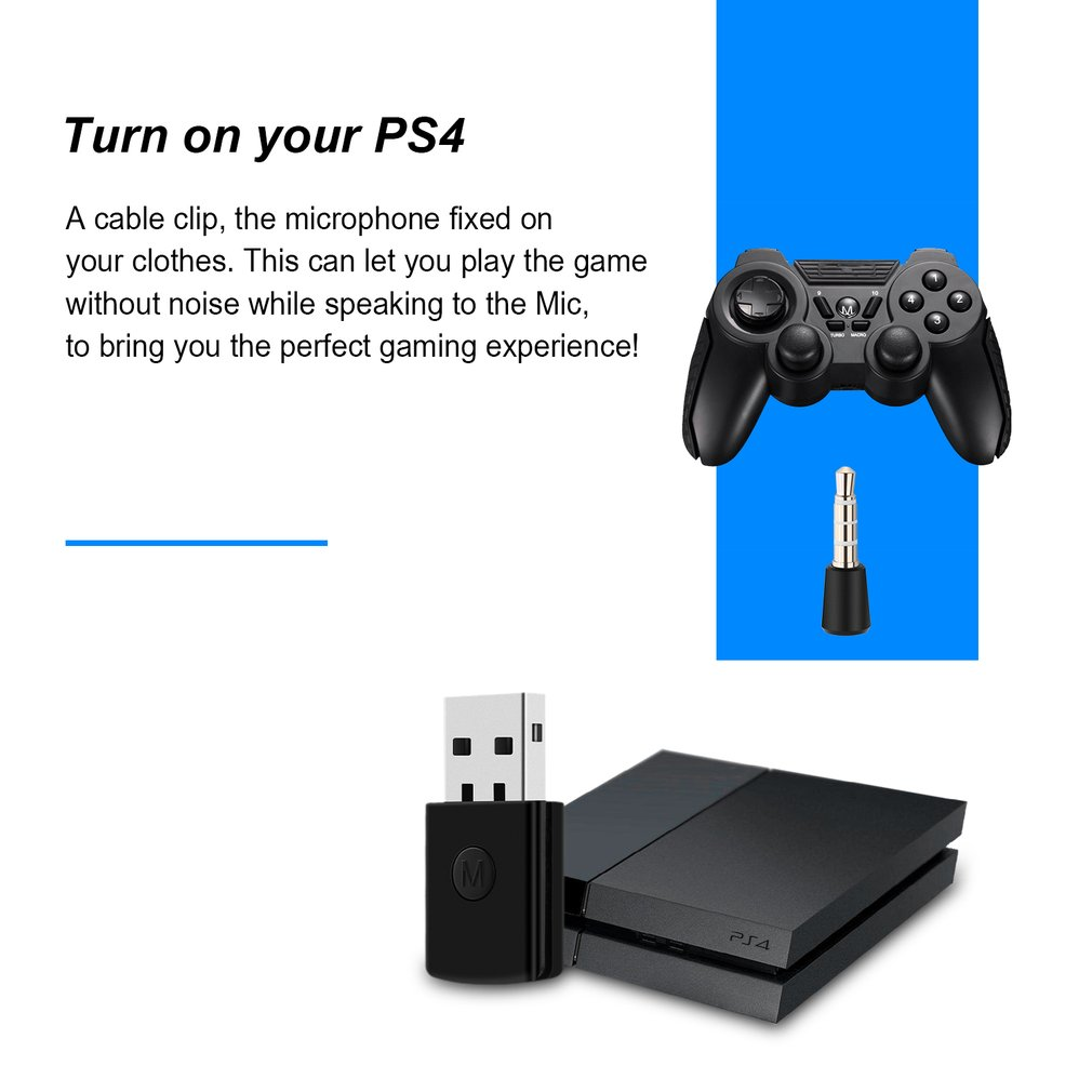 3.5mm Bluetooth 4.0 + EDR USB Bluetooth Dongle Latest Version USB Adapter for PS4 Stable Performance for Bluetooth Headsets