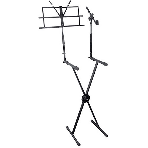 Pyle Pro Keyboard Stand with Music Stand and Microphone Boom