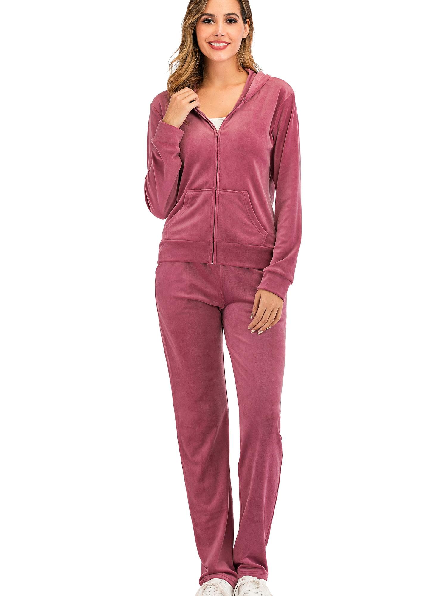 Autumn 2 Piece Set Women Loose Pink Long Sleeve Hoodies Pullover Wide Leg Pants Female Suit