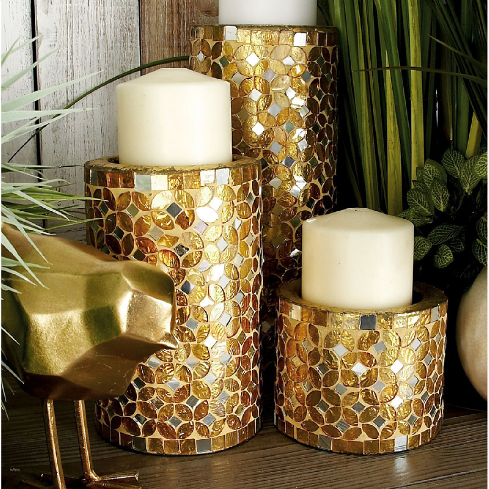 DecMode Mosaic Metal Candle Holder Set of 3 by DecoMode Collection