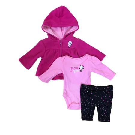 Infant Girls Hot Pink Panda Bear Baby Outfit Pants Creeper & Hoodie Jacket Set