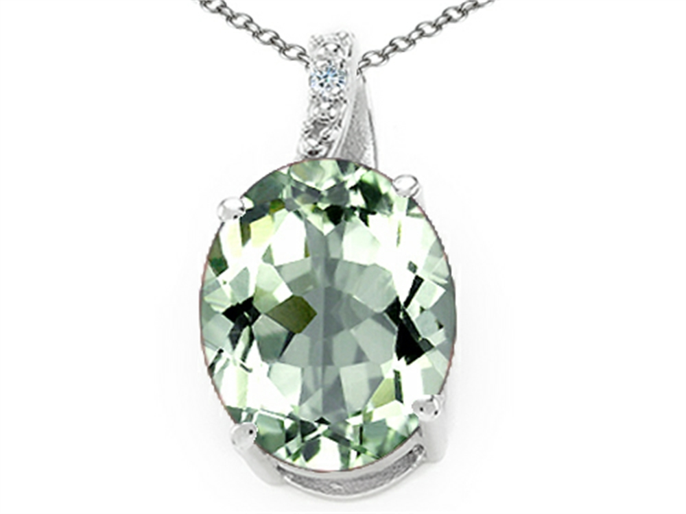 Tommaso Design Oval 10x8mm Green Amethyst Pendant Necklace by