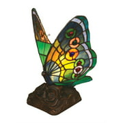 """CHLOE Lighting Tiffany-Style 1 Light Butterfly Accent Table Lamp, 10"""" Tall"""