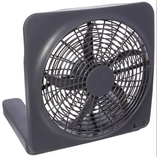 """O2 Cool 10-inch Portable Fan With Ac Adapter - 10"""" Diameter - 2 Speed - Carrying Handle, Adjustable Tilt Head, Foldable - Gray (fd10101a)"""