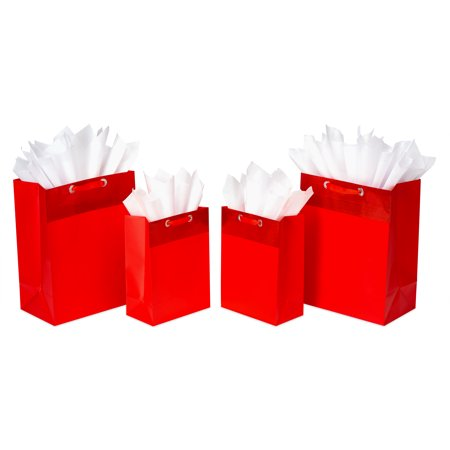 American Greetings Red Gift Bag and Tissue Paper Bundle, 4ct](Red Paper Bags)