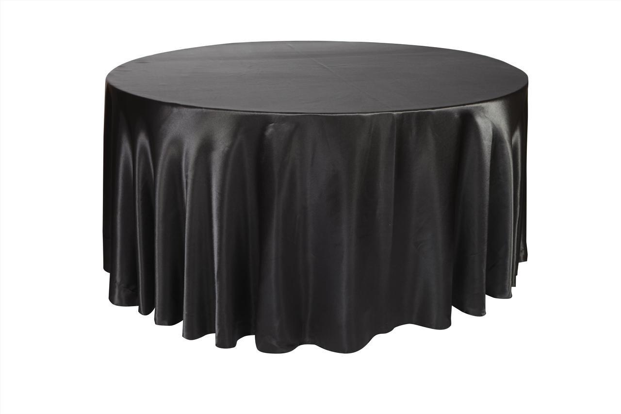 YCC   120 Inch Round Satin Tablecloth Black