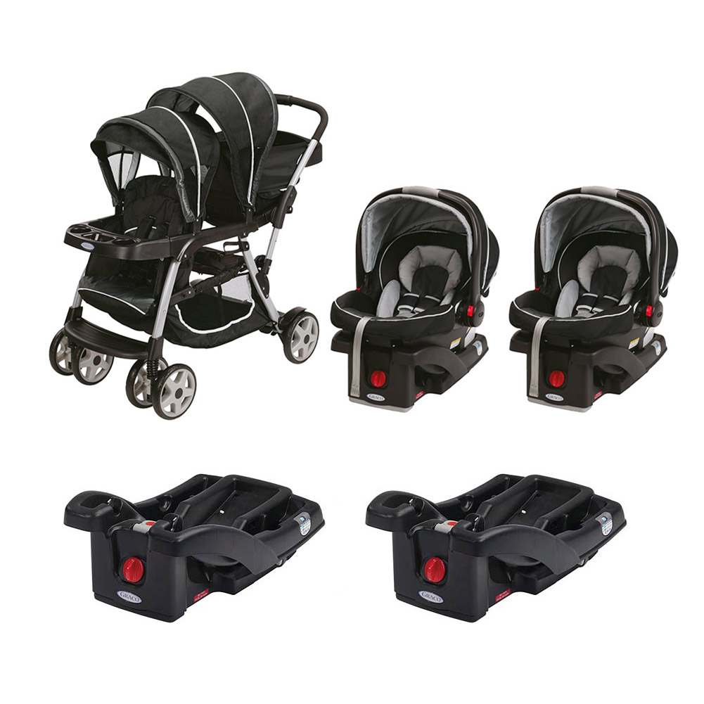 Graco Ready2Grow ClickConnect Dual Stroller with Two Car Seats and Bases, Gotham