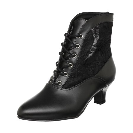 Womens High Heel Boots 2 Inch Sexy Victorian Ankle Boot Lace Accent Black