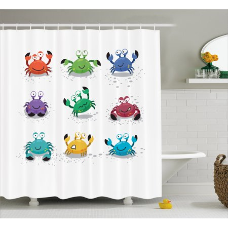 Crabs Shower Curtain Joyful Cartoon Style Colorful Crab Characters With Various Expressions And Emotions