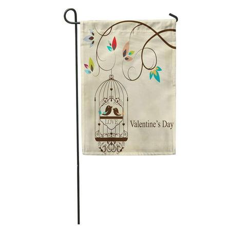 LADDKE Brown Tree St Valentine Day Birds Green Love Cage Branch Garden Flag Decorative Flag House Banner 12x18 inch