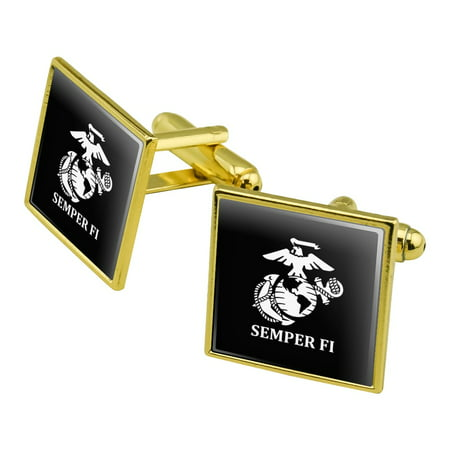 Marine Corps USMC Semper Fi Black White Logo Officially Licensed Square Cufflink Set - Silver or Gold Pave White Gold Cufflinks