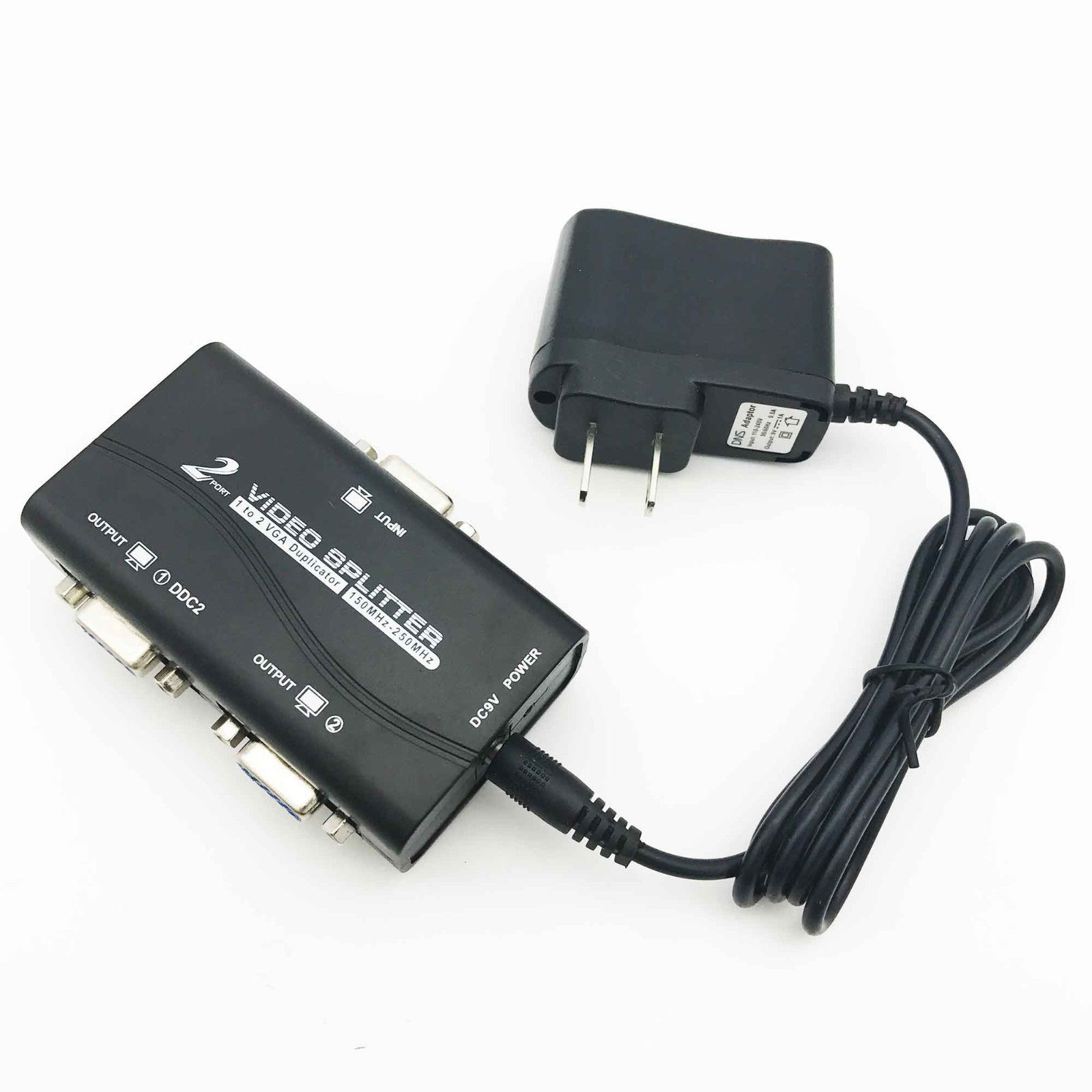 2 Port VGA SVGA LCD 1 In 2 Out Video Splitter Box Adapter For LCD PC TV Monitor With Power Cable