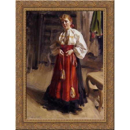 Girl in an Orsa Costume 24x18 Gold Ornate Wood Framed Canvas Art by Anders Zorn