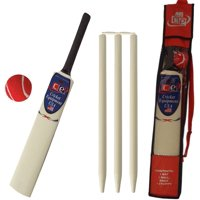 Kids Cricket Gift Set Young American Includes Wooden Cricket Bat Tennis Ball Stumps and Bag Size 4