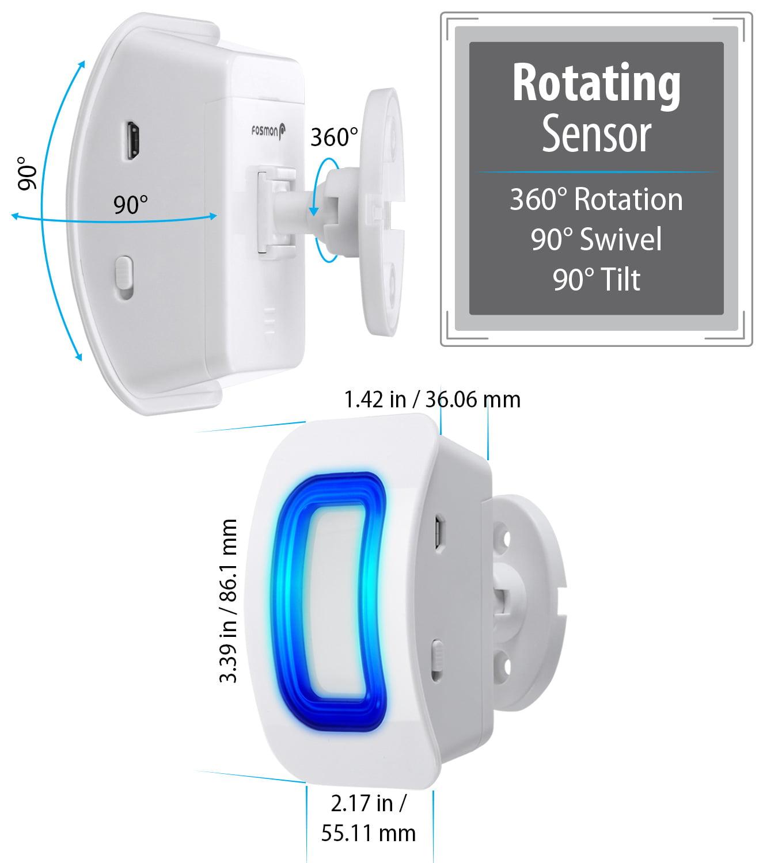 1 Motion Detector Motion Sensor Detect Alert 150M//500FT, 52 Tunes, 4 Volume Levels, LED Indicators Store Door Entry Chime Doorbell Fosmon WaveLink 51005HOM Wireless Home Security Driveway Alarm