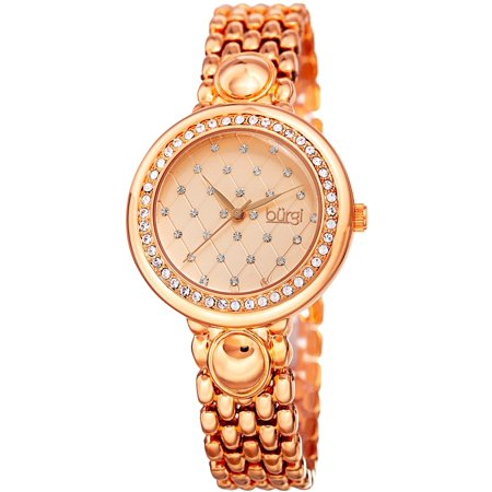 Women's Swarovski Crystal Diamond Patterned Elegant Rose-Tone Bracelet Watch with FREE
