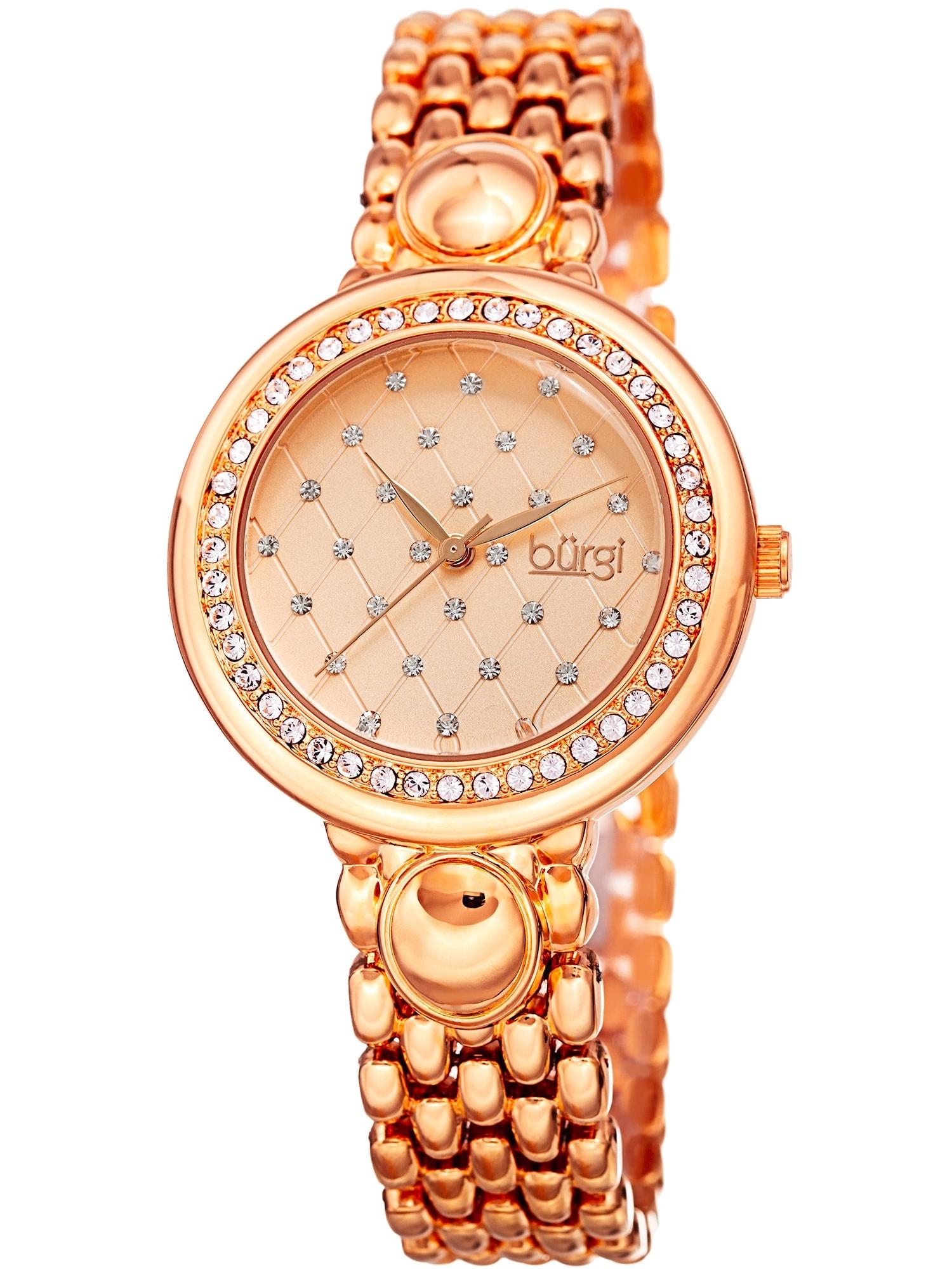 Women's Swarovski Crystal Diamond Patterned Elegant Rose-Tone Bracelet Watch with FREE Bangle