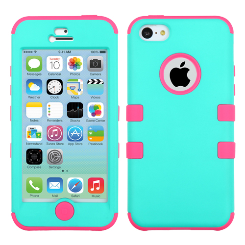Apple iPhone 5C MyBat TUFF Hybrid Protector Case, Rubberized Teal Green/Electric Pink