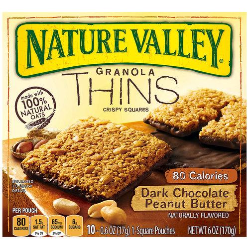 Nature Valley Granola Thins Dark Chocolate Peanut Butter Crispy Squares, 10ct