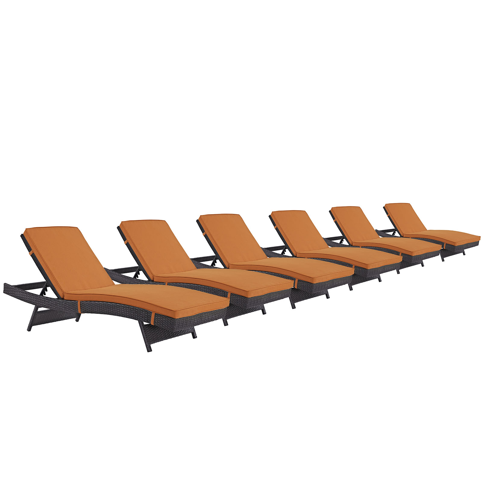 Modern Contemporary Urban Design Outdoor Patio Balcony Chaise Lounge Chair ( Set of 6), Orange, Rattan