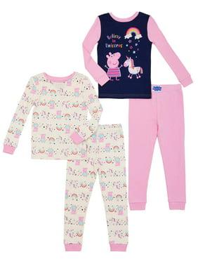 Peppa Pig Toddler Girl Snug Fit Cotton Long Sleeve Pajamas, 4Pc Set