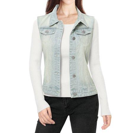 (Ladies Buttoned Washed Denim Vest w Flap Pockets)