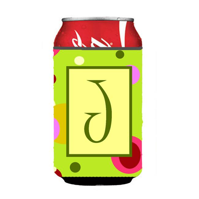 Letter J Initial Monogram - Green Can or Bottle  Hugger - image 1 of 1