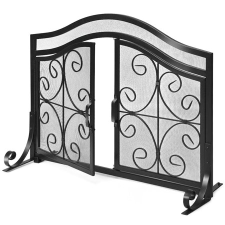 Gymax Fireplace Screen with Hinged Magnetic Two-doors Flat Guard Freestanding Black ()