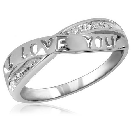 White Diamond Accent I LOVE YOU Ring