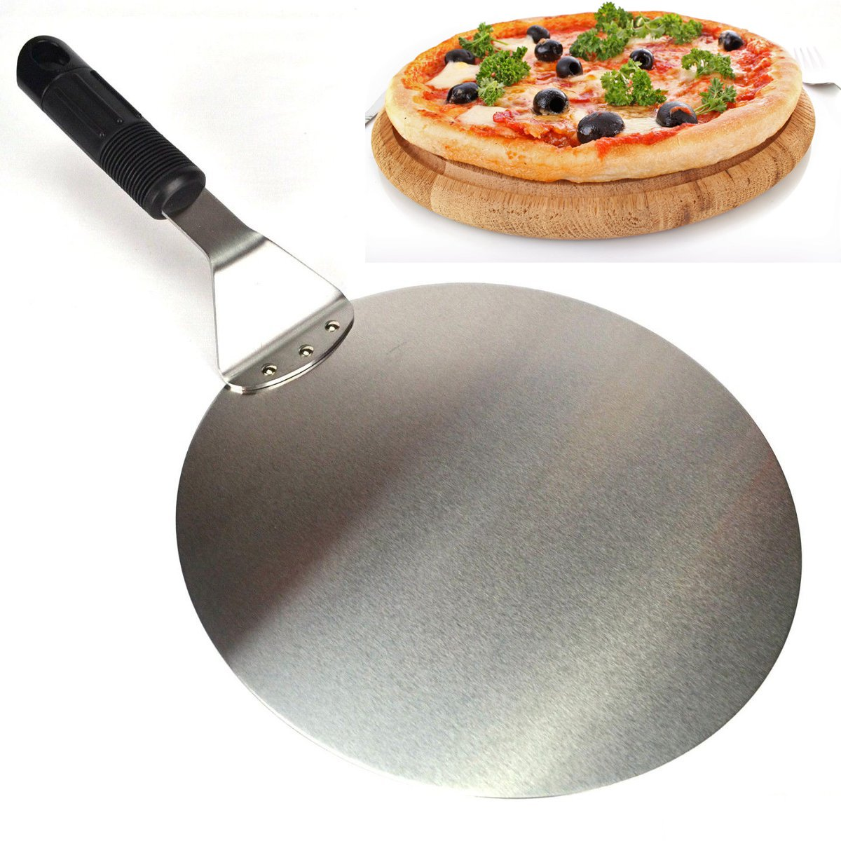 10'' Round Stainless Steel Pizza Spatula Peel Shovel Turner Cake Lifter Tray Pan by