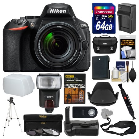 Nikon D5600 Wi-Fi Digital SLR Camera & 18-140mm VR DX AF-S Lens + 64GB Card + Case + Flash + Battery & Charger + Grip + Tripod + Filters + Remote