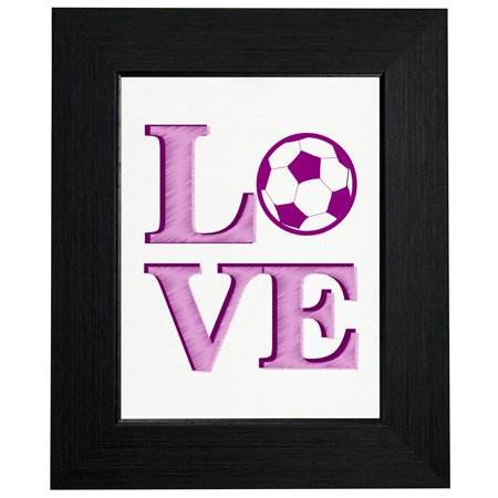LOVE - Soccer Stacked LO VE - Pink Pencil Sketch Ball Framed Print Poster Wall or Desk Mount Options Nantucket Pink Print