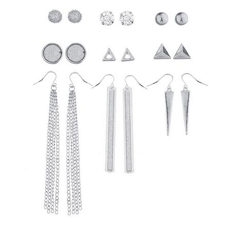 Lux Accessories SilverTone Crystal Glitter Geometric Stud Drop Earring Set