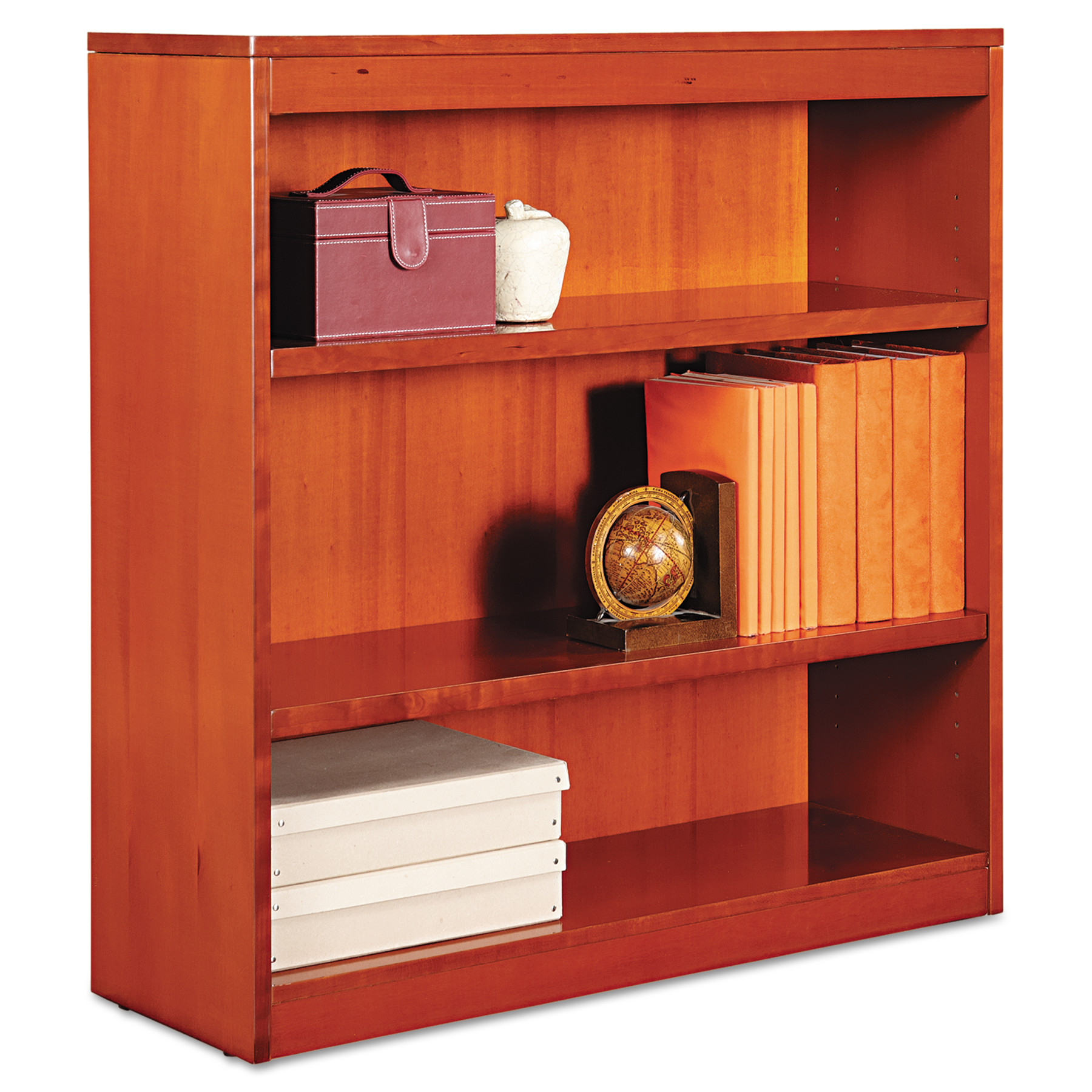 Alera Square Corner Wood Veneer Bookcase, Three-Shelf, 35-5 8 x 11-3 4 x 36, Mahogany by ALERA