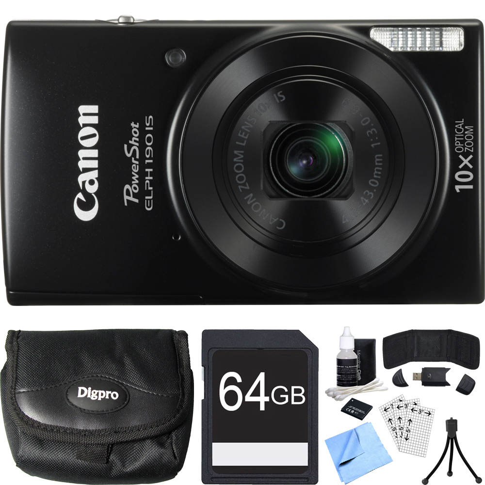 Canon PowerShot ELPH 190 IS Black Digital Camera 64GB Card Bundle includes Camera, 64GB Memory Card, Reader, Wallet, Case, Battery, Mini Tripod, Screen Protectors, Cleaning Kit and Beach Camera Cloth