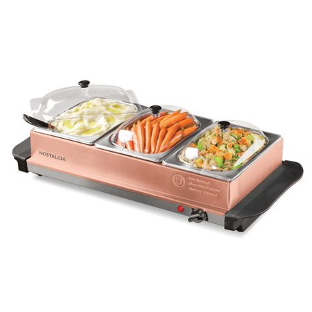 Nostalgia BSC15 Copper 3-Station 4.5-Quart Buffet Server & Warming Tray - Warming Trays