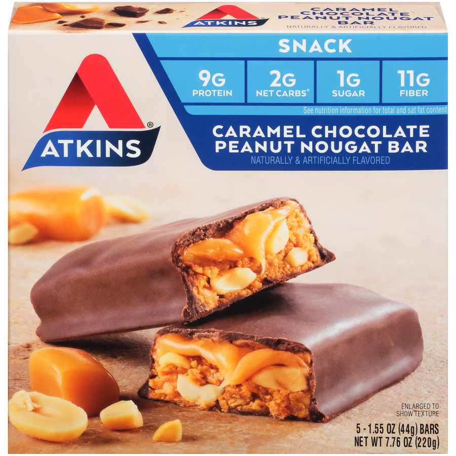 Atkins Protein Snack Bar, Caramel Chocolate Peanut Nougat, 9g Protein, 5 Ct