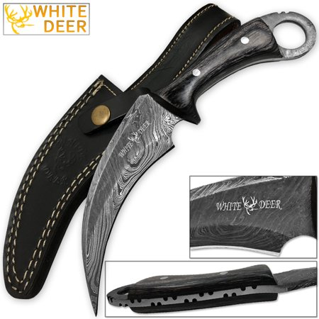 - WHITE DEER Mission Tactical Karambit Knife 9.25in Full Damascus Forged Steel