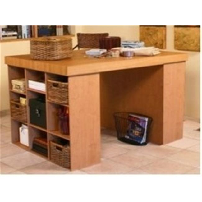 Venture Horizon 1148-33OA 38.5 x 55 x 41 in. Project Center with 2 Bookcases - Oak