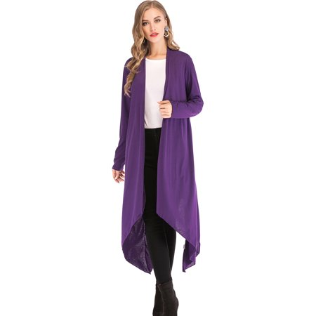 - SAYFUT Juniors' Plus Size Lightweight Sweater Casual Cardigan Long Sleeve Open Front Cardigan Duster Sweater XL-5XL Black/Purple