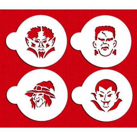 Halloween Stencils Moon Face (Halloween Cookie Monster Faces Cookie Stencils by Designer)