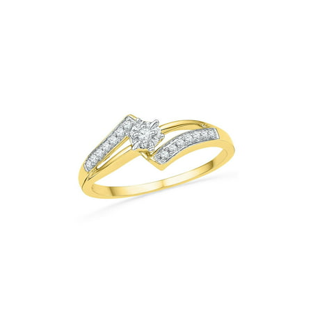 10kt Yellow Gold Womens Round Diamond Solitaire Bridal Wedding Engagement Ring 1/10