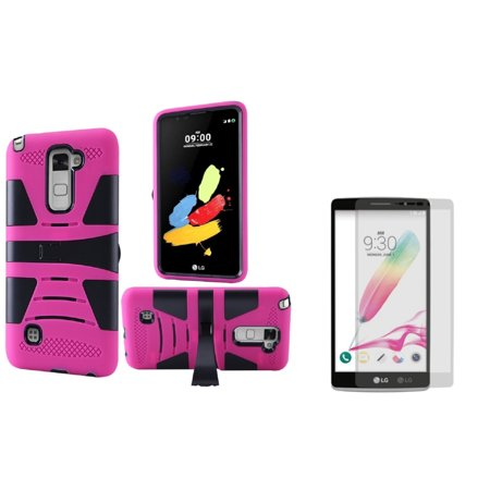 Insten Hard Hybrid 2 Layer Case With Stand For Lg G Stylo 2   Hot Pink Black    Glass Screen Protector   2 In 1 Accessory Bundle