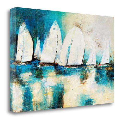 Tangletown Fine Art 'Velero Azul' by Nancy Villarreal Santos Painting Print on Wrapped Canvas