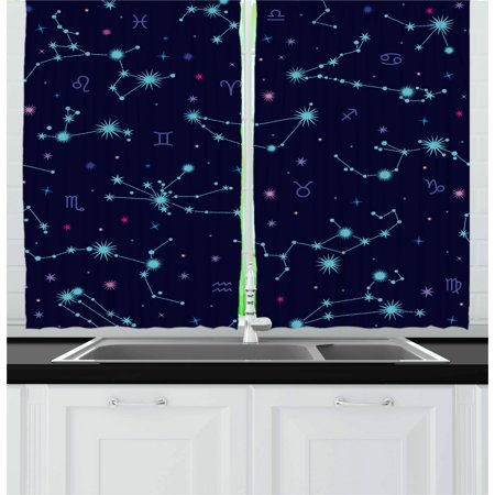 Astrology Curtains 2 Panels Set, Colorful Zodiac Horoscope Sign with Dots and Snowflake Like Image, Window Drapes for Living Room Bedroom, 55W X 39L Inches, Mint Green Purple and Pink, by Ambesonne](Purple And Mint Green)