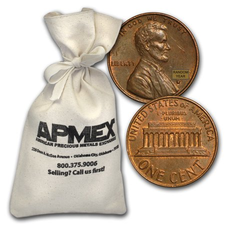 1959-1982 Copper Lincoln Cent 5000 Coin Bag ($50 (Euro 50 Cent Coin)