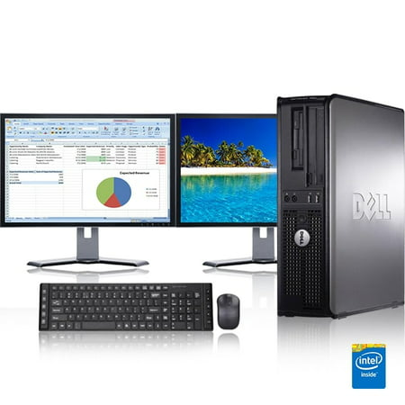 Dell Optiplex Desktop Computer 2.3 GHz Core 2 Duo Tower PC, 4GB RAM, 160 GB HDD, Windows 7, ATI , Dual 17