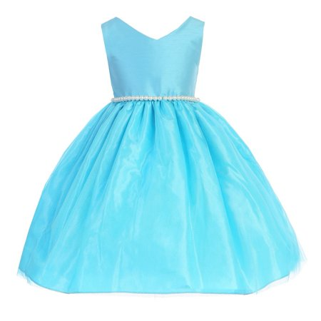 Little Girls Blue Pearl Dupioni Tulle Special Occasion Dress 2