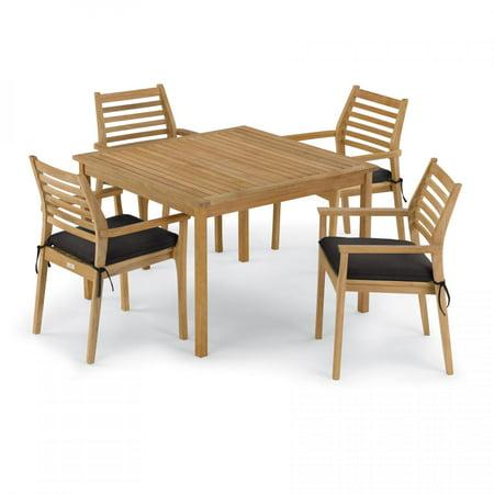 Classic 5 Piece Natural Shorea Patio Dining Set W/ 42 Inch Square Table & Sunbrella Canvas Black Cushions By Oxford Garden ()