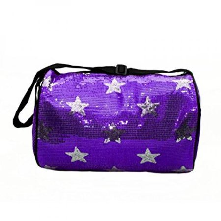 Girl's Quilted Nylon Dance Duffle Bag w/ Sequin Stars (Purple)